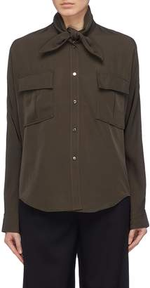 Comme Moi Tie neck chest pocket twill shirt
