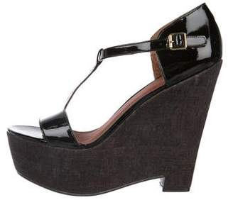 Elizabeth and James Patent Leather T-Strap Wedges