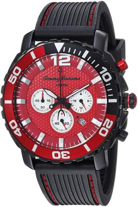 Tommy Bahama Men's Sport Black Stainless Steel Case and Black Rubber Strap Chronograph Watch (Model:TB00007-04)