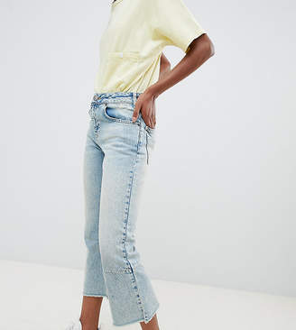 Asos Design Petite Egerton Rigid Cropped Flare Jeans With Darts In Light Vintage Wash