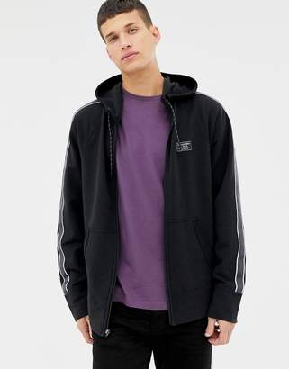 Abercrombie & Fitch sleeve tape logo full zip hoodie in black