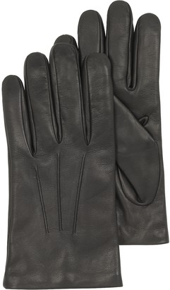 Forzieri Black Leather Handmade Men's Gloves w/Wool Lining