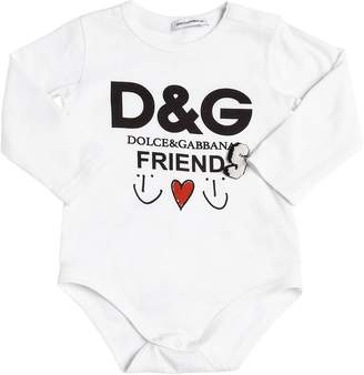 Dolce & Gabbana Logo Print Cotton Jersey Bodysuit