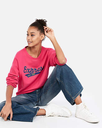 Express One Eleven Pink Logo Graphic Sweatshirt