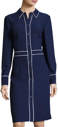 Pink Tartan Contrast-Piping Shirtdress, Blue/White $279 thestylecure.com