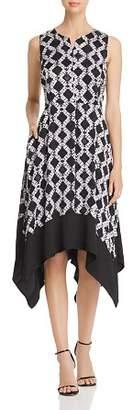 Donna Karan Printed Handkerchief-Hem Dress