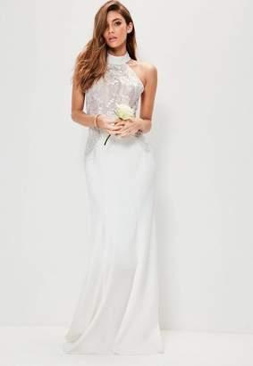 Bridal White High Neck Lace Detail Maxi Dress $228 thestylecure.com