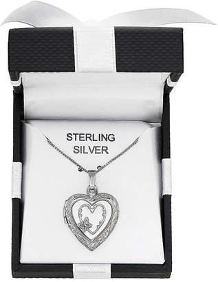 FINE JEWELRY Womens White Sterling Silver Heart Locket Necklace