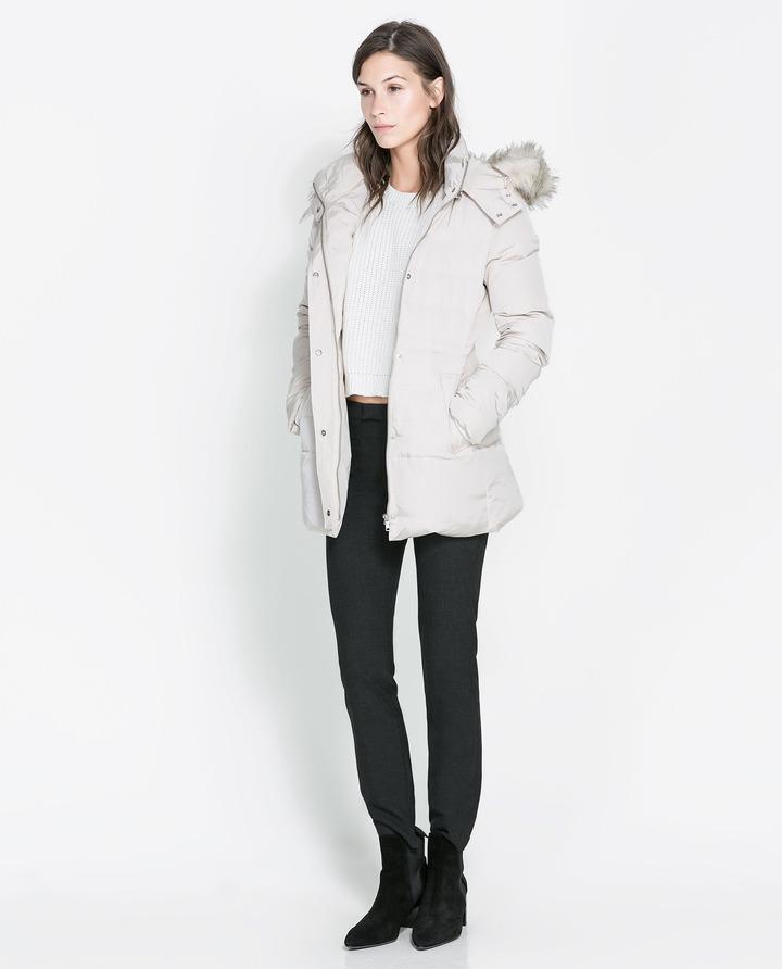 Zara Three Quarter Length Puffer Jacket