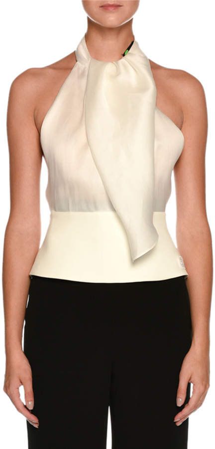 Giorgio Armani Silk Organza Backless Halter Blouse