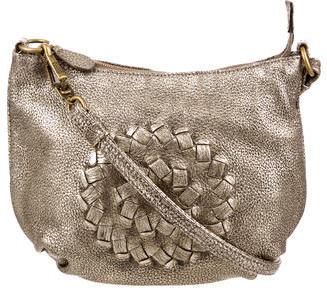 Bottega VenetaBottega Veneta Intrecciato-Accented Metallic Leather Shoulder Bag