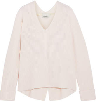 3.1 Phillip Lim Open-back Ribbed Wool And Yak-blend Sweater - Off-white