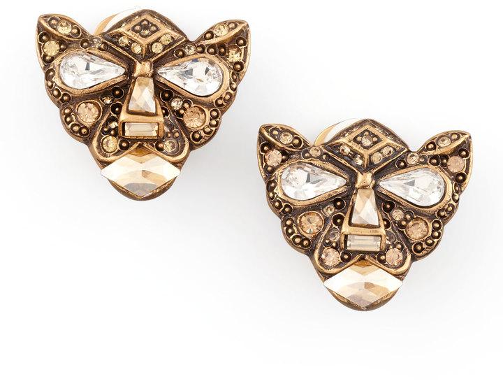 Oscar de la Renta Crystal Panther Clip Earrings