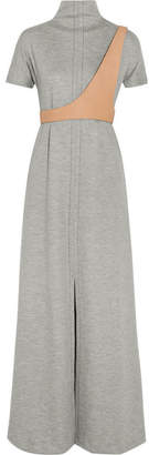 Maison Margiela - Wool-blend Jersey And Leather-trim Maxi Dress - Gray $3,180 thestylecure.com