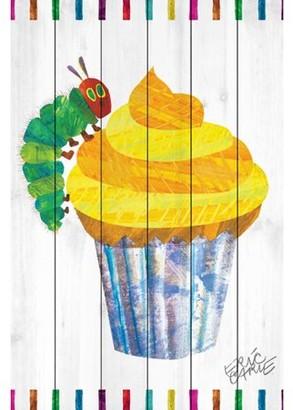 Eric Carle Caterpillar Cupcake Art Print on White Pine Wood