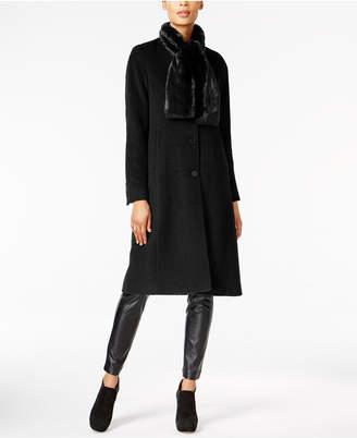 Jones New York Walker Coat & Faux-Fur Scarf $400 thestylecure.com