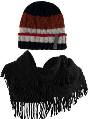 AERUSI Women's Patriot Warm and Cozy Knitted Beanie and Soft Plush Chic Infinity Scarf Bundle