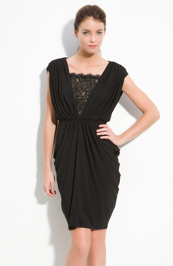 Adrianna Papell Lace Inset Jersey Cocktail Dress