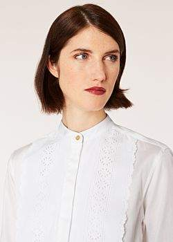 Women's White Cotton Shirt With Embroidered Tuxedo Bib Detail