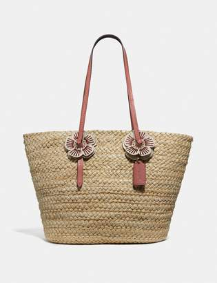 Coach Woven Tote With Tea Rose
