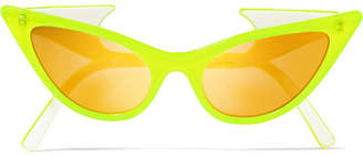 Le Specs Adam Selman The Prowler Cat-eye Neon Acetate Mirrored Sunglasses - Yellow