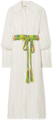 BEIGE All Things Mochi - Jenny Striped Linen Midi Dress