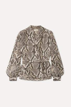 L'Agence Cara Snake-print Silk Crepe De Chine Wrap Blouse - Snake print