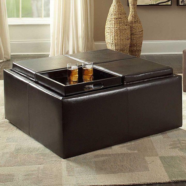Homevance casual storage tray ottoman