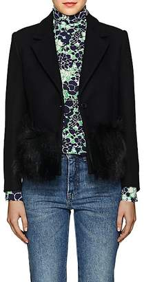 "Lisa Perry Women's ""Foxy"" Fur-Trimmed Wool-Blend One-Button Blazer - Black"