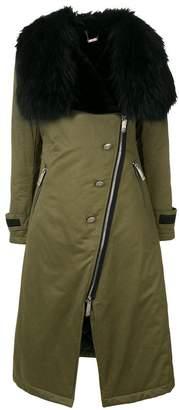 John Richmond asymmetric fur coat