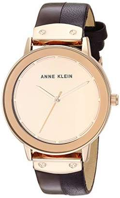 Anne Klein Women's AK/3226RMPL Rose Gold-Tone and Purple Leather Strap Watch