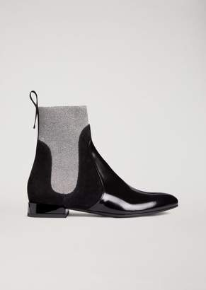 Emporio Armani Abraded Leather Beatle Boots With Suede And Lurex Details