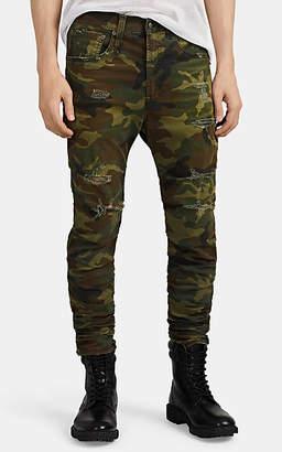 R 13 Men's Skywalker Distressed Camouflage Skinny Jeans - Olive