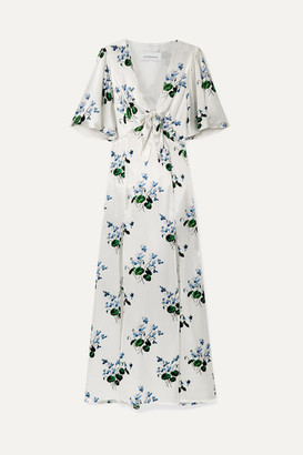 Les Rêveries Tie-front Floral-print Silk-satin Maxi Dress - White