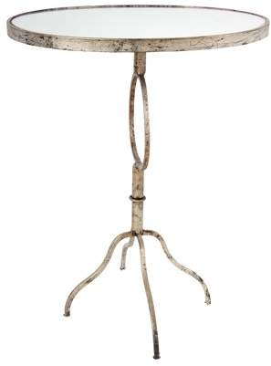 A&B Home Oval Accent Table With Glass Top, Silver Distressed Finish