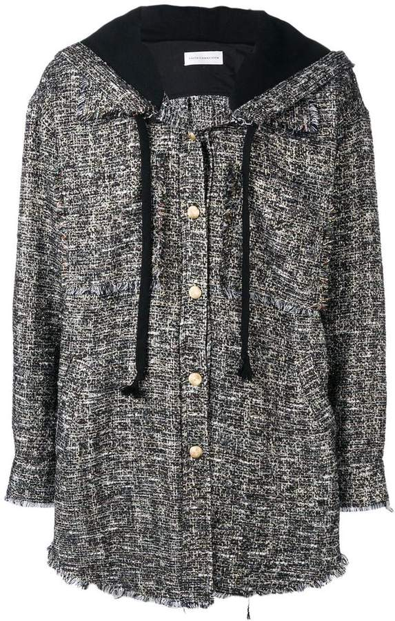 hooded button jacket