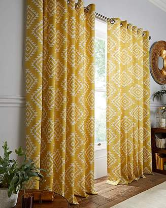 Catherine Lansfield Aztec Lined Eyelet Curtains