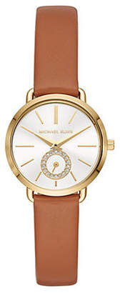 Michael Kors Three Hand Goldtone and Luggage Leather Portia Watch