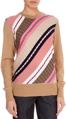 Victoria Beckham Multi-Stripe Wool Crewneck Sweater