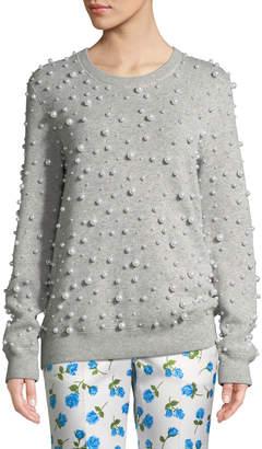 Michael Kors Crewneck Pearlescent-Embellished Cashmere Sweater