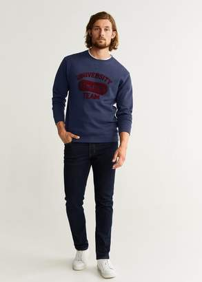 MANGO MAN - Textured embroidery varsity sweatshirt dark navy - XS - Men