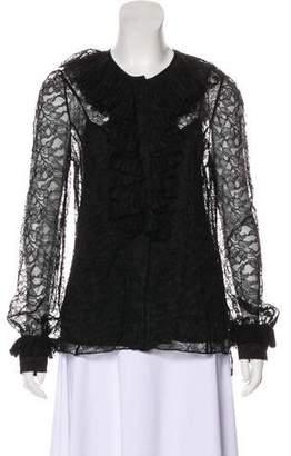 Prabal Gurung Lace Long Sleeve Top