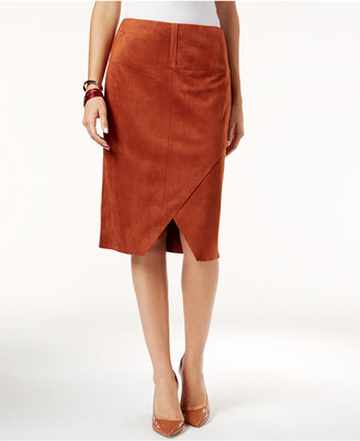 INC International Concepts Faux-Suede Asymmetrical Pencil Skirt, Only at Macy's $69.50 thestylecure.com