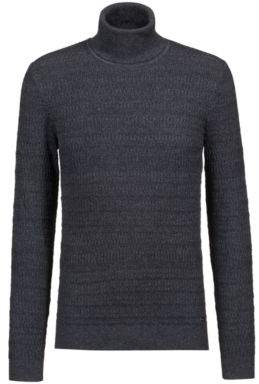 HUGO Boss Extra-slim-fit turtleneck sweater in wool & cotton M Charcoal