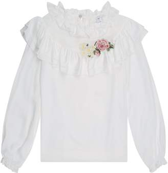 MonnaLisa Embroidered Ruffle Blouse
