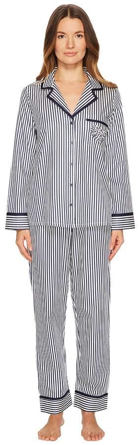 Kate Spade New York - Pinstripe Sateen Pajama Set Women's Pajama Sets