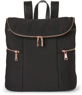 Urban Expressions Black Perforated Flap Backpack