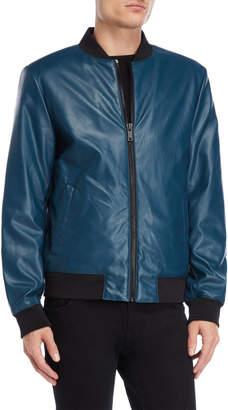 DKNY Faux Leather Bomber Jacket