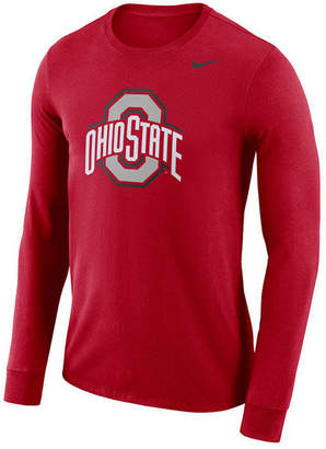 Nike Men's Ohio State Buckeyes Dri-fit Cotton Logo Long Sleeve T-Shirt