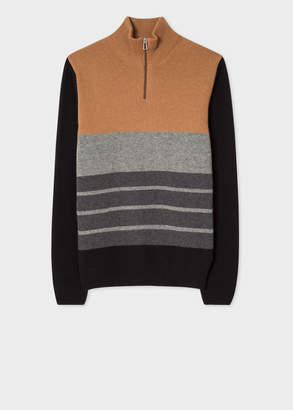 Paul Smith Men's Brown Colour-Block Funnel Neck Lambswool-Blend Half-Zip Sweater